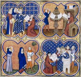 Carlos V de Francia ordena la traducción de una copia de Aristóteles. Fuente: Wikimedia.