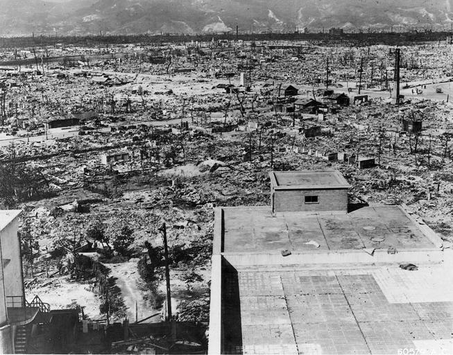 Hiroshima arrasada luego de la bomba. Fuente: Wikimedia.