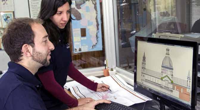 Uso de herramientas de digitalización para cuantificar patologías de fachadas; en pantalla, el Congreso Nacional.