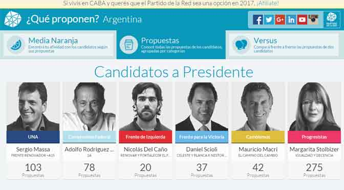 Partido de la Red lanza sitio para analizar a los candidatos a Presidente