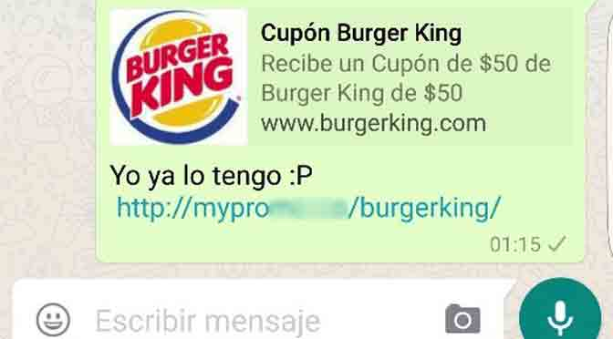 Alerta por falso voucher de Burger King que se propaga vía WhatsApp