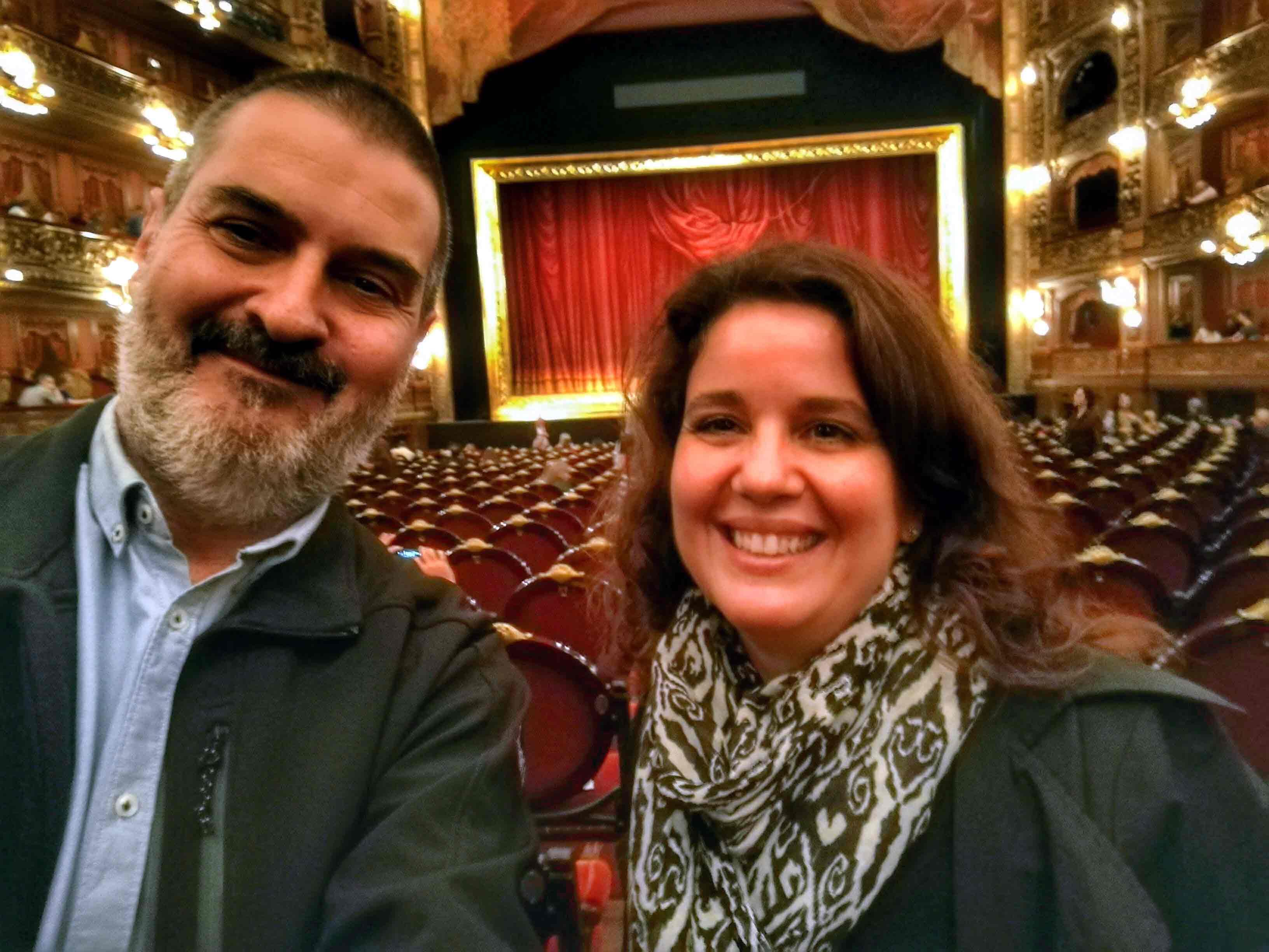 Con Lizie Rey. Teatro Colón, Buenos Aires, abril.