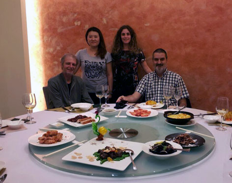 Con Damián Kantor, Ana Deng y Debora Slotnisky. Shenzhen, China, abril.