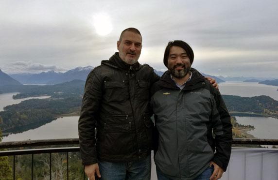 Con Guillermo Tomoyose. Cerro Campanario, San Carlos de Bariloche, Río Negro, mayo.