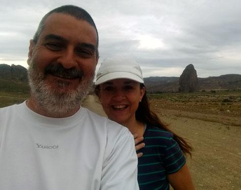 Con Lidia Garavano. Piedra Parada, Chubut, diciembre.