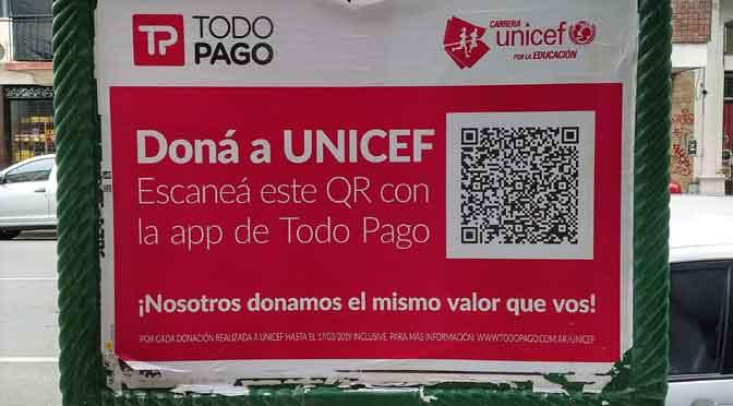 Donaciones para Unicef con código QR de Todo Pago